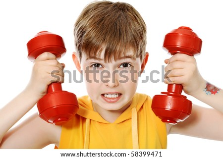 Shot of a sporty boy teenager with dumbbells. Isolated over white background. - stock photo