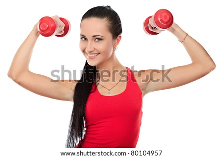 Shot of a sporty young woman with dumbbells. Active sporty life, wellness. - stock photo
