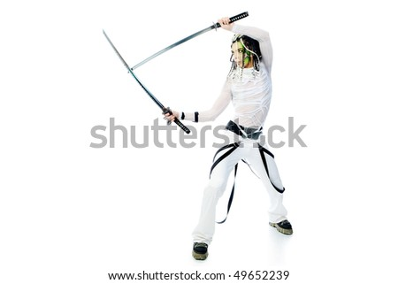 Shot of a stylish male warrior standing with his sword. Isolated over white background.