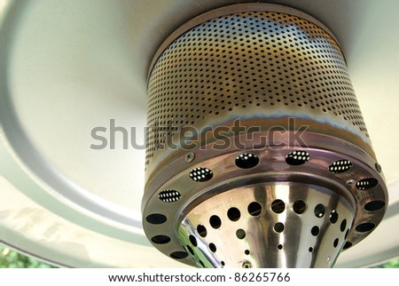 Shot of a typical terrace gas heater - stock photo