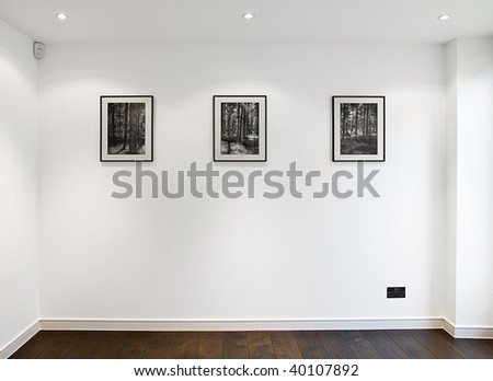 Shot of a Wall with Three Picture Frames above American Oak Floor