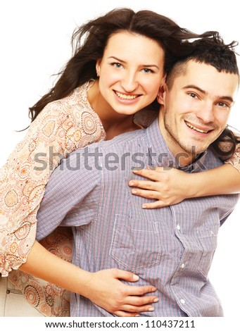 Shot of a young couple isolated on white - stock photo