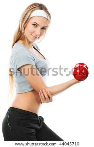 Shot of a young woman with  dumbbells. Active sporty  life, wellness. - stock photo