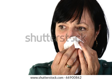 Shot of aged retired woman crying isolated on white background