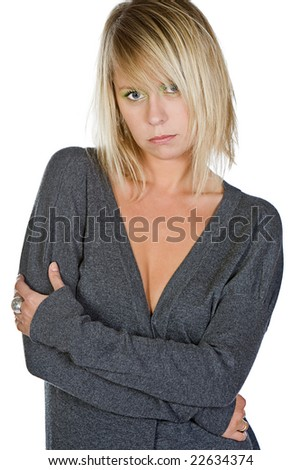 Shot of an Attractive Blonde Woman in Grey Jumper - stock photo