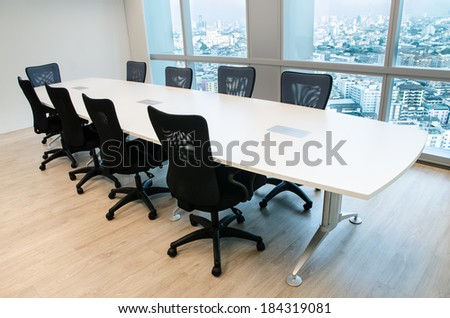 shot of an empty business meeting and conference room - stock photo