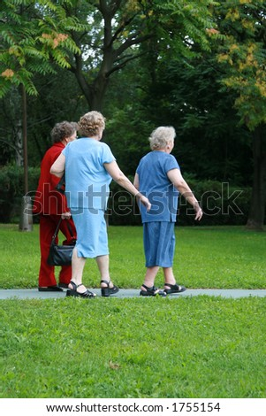 Shot of an old friends walking in the park - stock photo