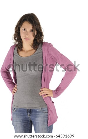 Shot of angry teen girl isolated on white background - stock photo