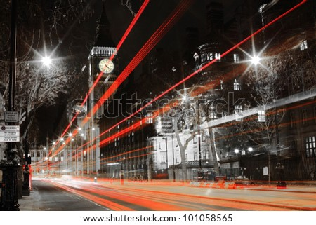 shot of big ben from the road - stock photo