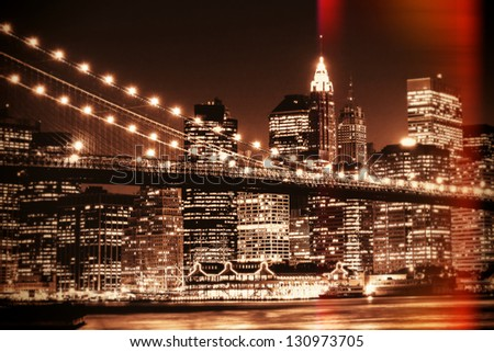 Shot of brooklyn bridge and lower manhattan - stock photo