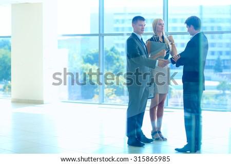 Shot of businessmen shaking hands   - stock photo