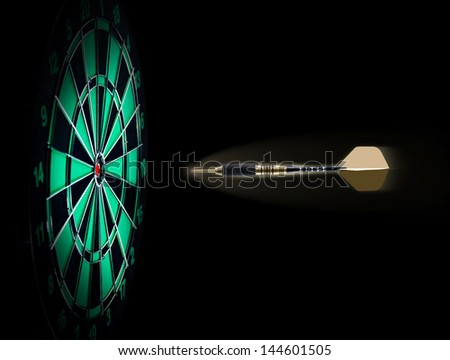 Shot of darts in bullseye on dartboard - stock photo
