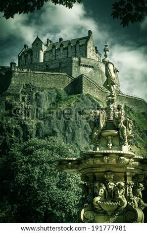 Shot of Edinburgh Castle with Vintage look - stock photo