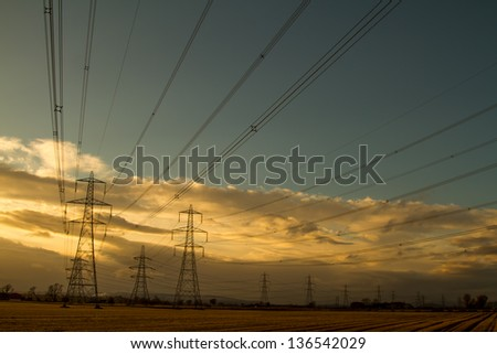 Shot of Electricity Pylons at Sunset in Scotland
