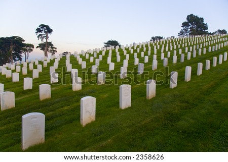 Shot of gravestones in the Presidio Military Cemetery