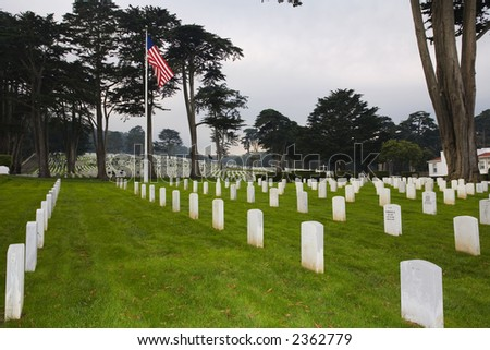 Shot of gravestones in the San Francisco National Cemetery. - stock photo