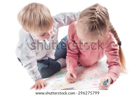 Shot of little girl and boy painting isolated on white - stock photo