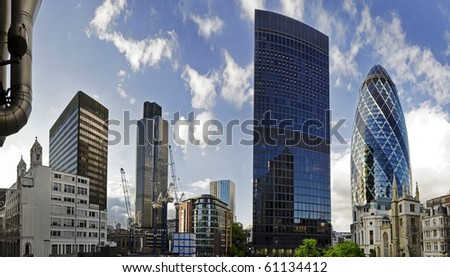 Shot of London's famous skyscrapers including 'the Gherkin', Aviva and Tower 42 in the heart of it's financial district, The City. - stock photo