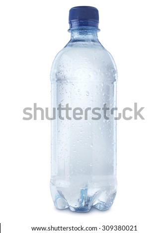 shot of mineral water bottle isolated on a white background with a clipping path, covered in condensation bubbles to show coldness.  - stock photo