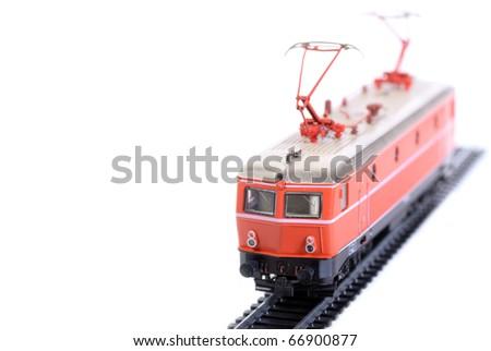 Shot of Model railroading isolated on white background - stock photo