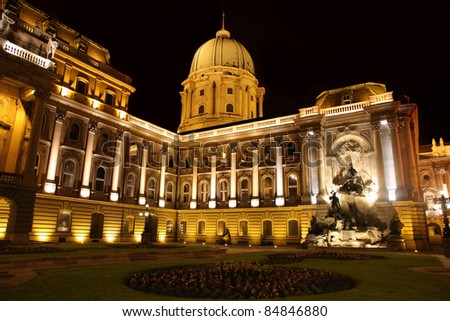 shot of night Buda Castle in Budapest, Hungary - stock photo