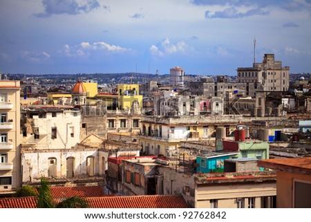 shot of old Havana city, Cuba - stock photo