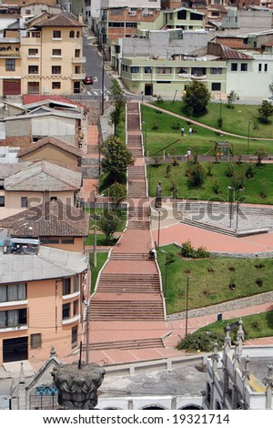 Shot of outside steps taken from the Basilica of Quito. - stock photo