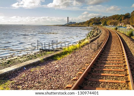 Shot of Railway tracks at Culross Scotland - stock photo