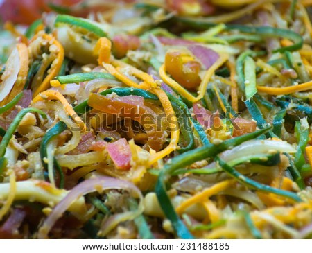 shot of raw vegetable salad