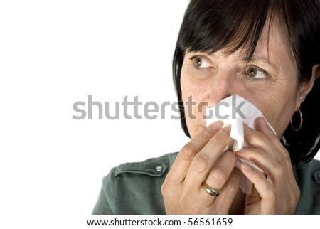 Shot of sad aged woman crying, isolated on white background. - stock photo