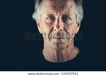 Shot of Sad Senior Male