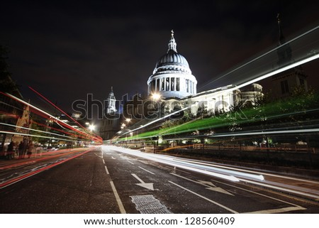 shot of St. Paul's cathedral from busy road - stock photo