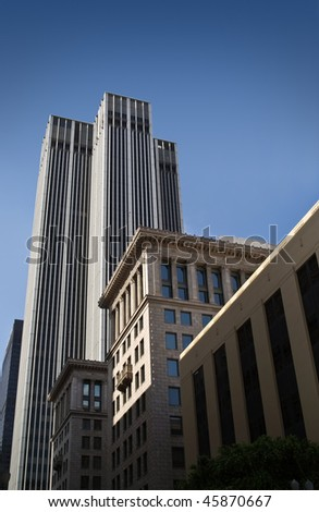 Shot of tall corporate buildings and skyscrapers at downtown Los Angeles. - stock photo