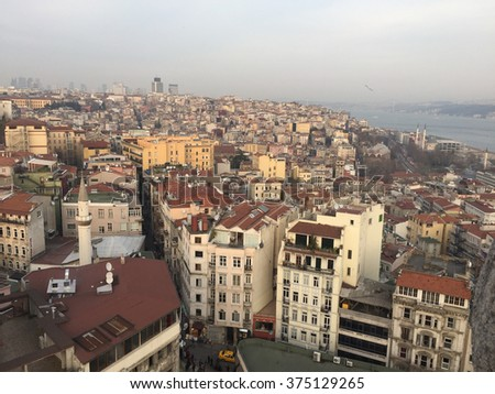 Shot of the city of Istanbul taken from Galata Tower.