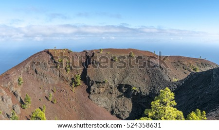"Shot of the famous hiking path ""Ruta de los vulcanos"" , taken in the south of la Palma nearby Los Canarios. View to caldera Martin"