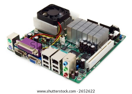 shot of the small mini-ITX motherboard on a white background with pretty shadow - stock photo