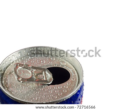 shot of the top of an energy drink opened with water droplets on it - stock photo