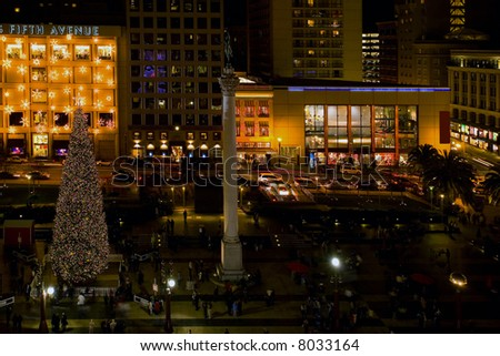 Shot of Unions Square's Christmas decorations at night; San Francisco. - stock photo