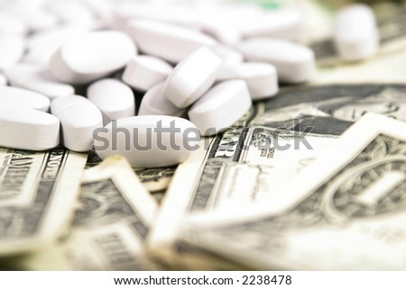 Shot of various amounts of money for commercial use in the medical field