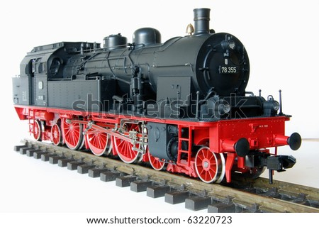 Shot of vintage black model railway - stock photo