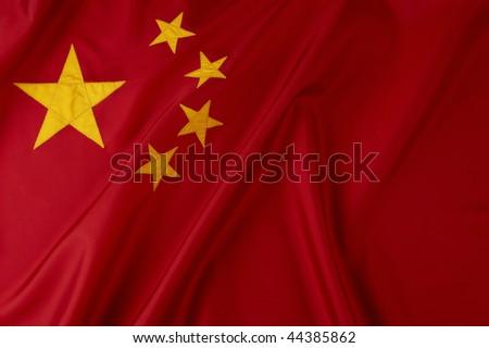 Shot of wavy Chinese flag - stock photo