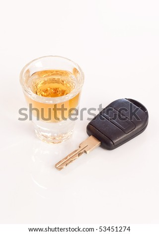 Shot of Whiskey and Car Key ( Drunk Driving Concept ) - stock photo