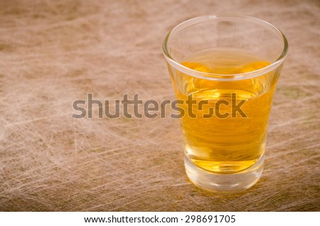 Shot of whiskey with copyspace - stock photo