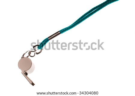 Shot of whistle isolated on the white - stock photo