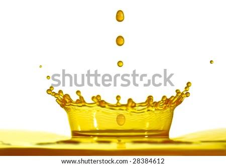 shot of yellow water splashing - stock photo