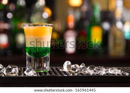 Shot on a bar counter - stock photo