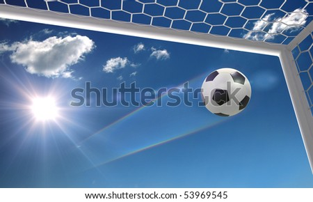 shot on goal on the sky background - stock photo