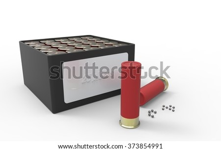 shotgun cartridges isolated over white. Hunting cartridges. - stock photo