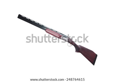 shotgun isolated on white - stock photo