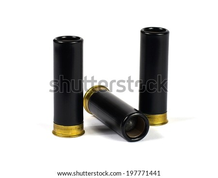 Shotgun plastic bullet cartridges are  isolated on white background - stock photo